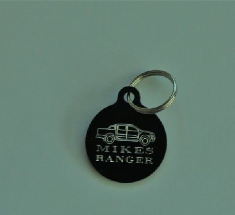 CAR, MOTORCYCLE LOGO KEY TAG WITH OUTLINE OF VEHICLE & NAME OR REG NO ETC